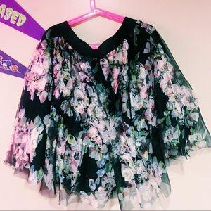 Floral print tulle skirt